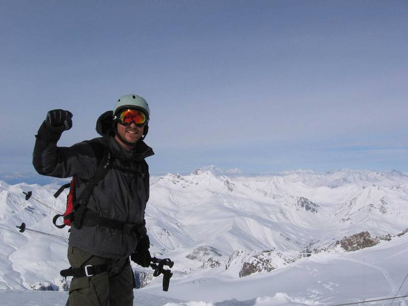 me in la grave with mt blanc some 100 miles in the distant background.