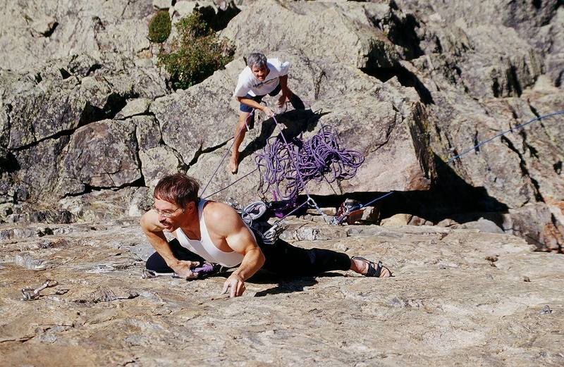 Richard setting up below the crux.