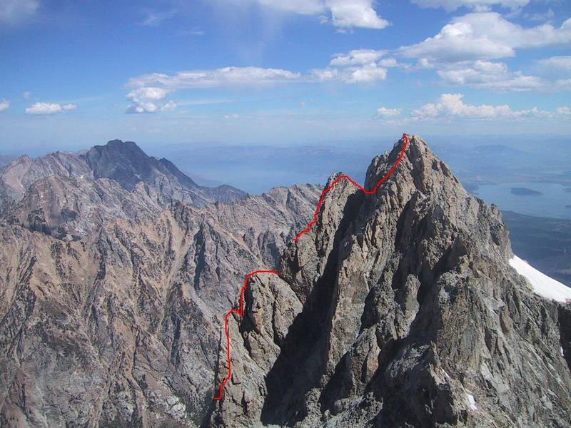 The Serendipity Arete from the north side of the Grand.  The third tower is just left of the big gap in the red line.
