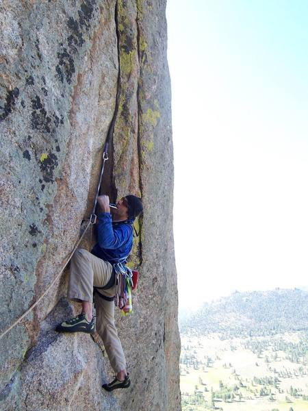 Rob leading the crux pitch....