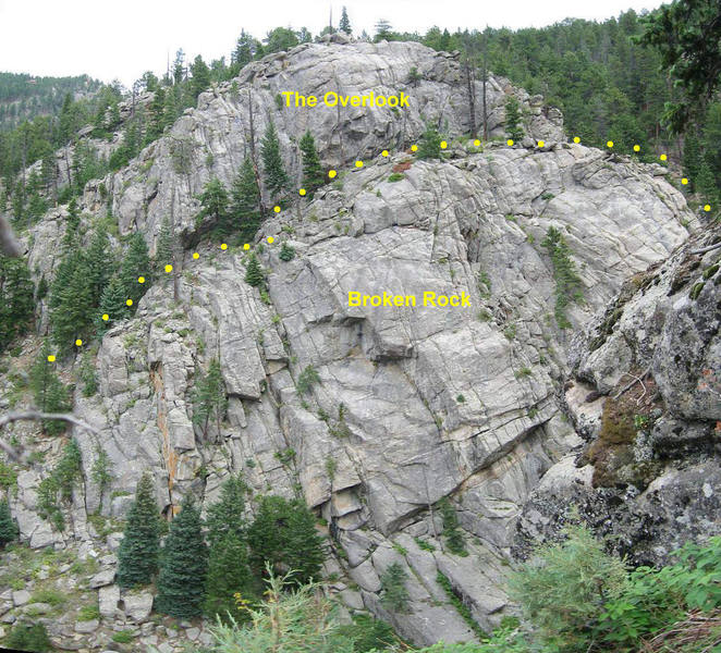 The Overlook and Broken Rock.  Photo taken from the upper east face of Castle Rock.<br> <br> Easiest access to The Overlook is around the right side of Broken Rock.
