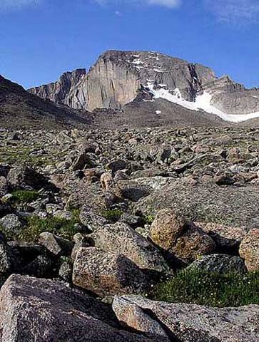 Long's Peak Diamond and boulderfield.<br> <br> Photo by Blitzo.