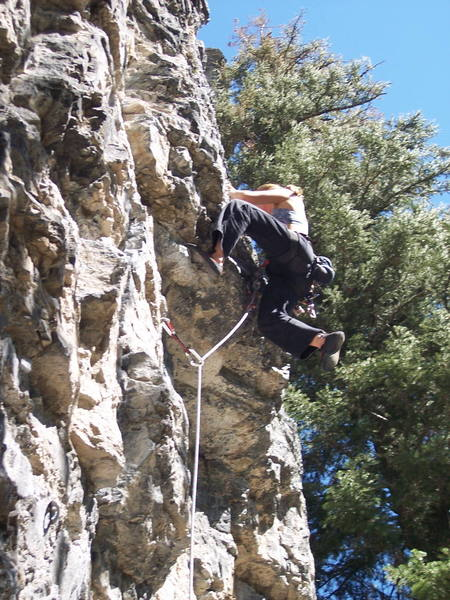 Brittany pulling the roof on this climb