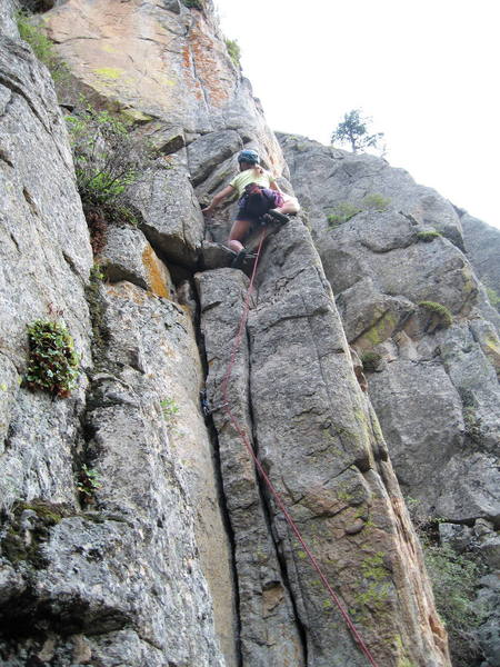 Marga Powell at the top of the 5.9 crack start.