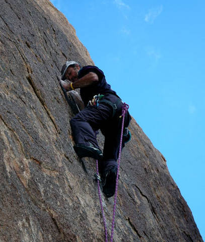 "Todd Gordon climbing at ""Hollywood"".<br> Photo by Blitzo."