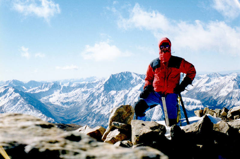 Self-portrait on summit of Elbert after winter ascent.