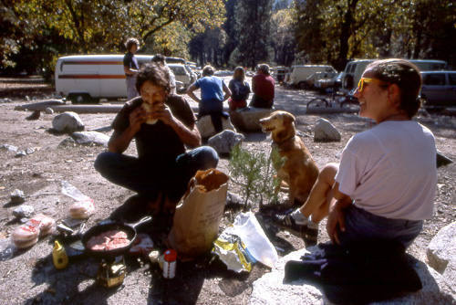 Burgers for breakfast. Camp 4 lot, 1985.<br> Photo by Blitzo.