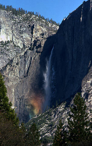 Upper Yosemite Falls, Winter, 1975.<br> Photo by Blitzo.