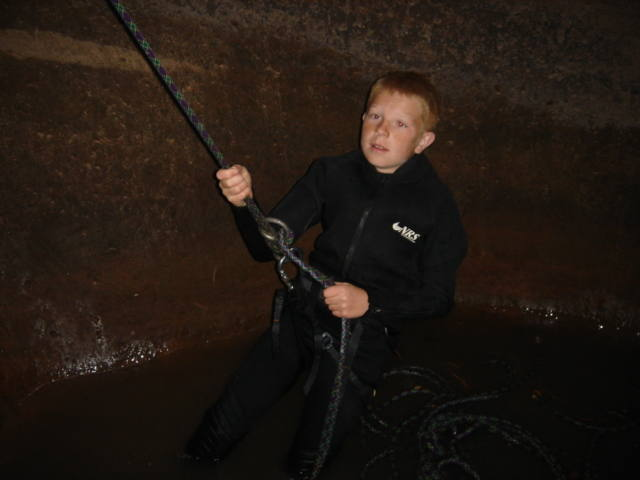 My son Christian getting to the bottom of Keyhole Canyon.
