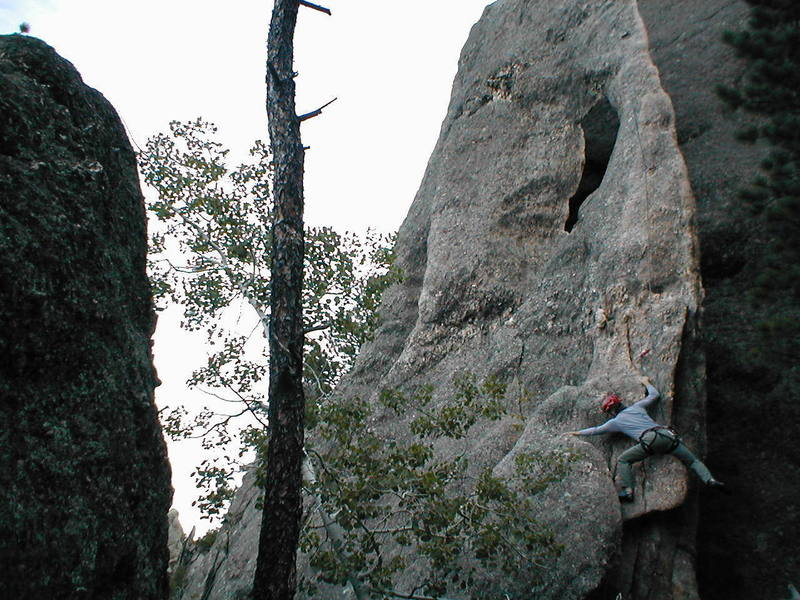 Bottom to top.  Erin = photo; Scott = climb.