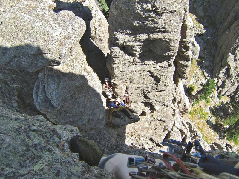 Looking back to the cozy belay at the end of the pitch two, while Angela arp and Matt Misfeldt cheer me on.