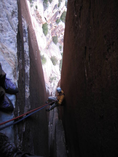 Mike Swanicke rapping Epinephrine.  We rapped from the a couple pitches above the tower with two 60m ropes wihtout much trouble.