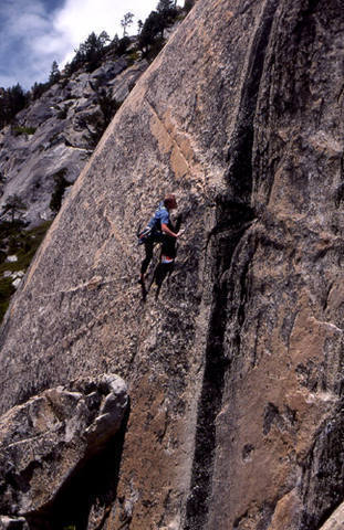 """Al Swanson on the first ascent of """"Country Boy"""".<br> Photo by Blitzo."""