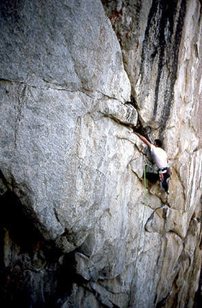 """Paul Crawford on the first ascent of """"Sky Shark"""".<br> Photo by Blitzo."""