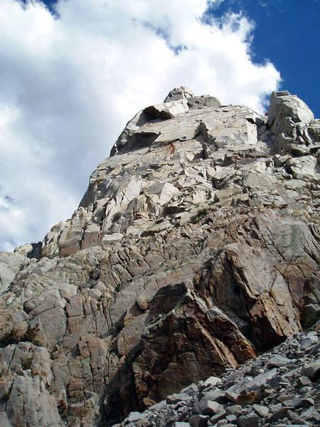 Looking up at Cardinal Pinnacle.  A proud crag.  Photo by Kia Ravanfar.