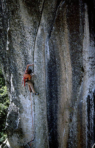 """Bill Price on """"The Phoenix"""", the first 5.13.<br> Photo by Blitzo."""