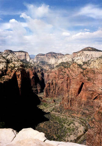 Upper Zion Canyon from top of Angels Landing.<br> Photo by Blitzo.