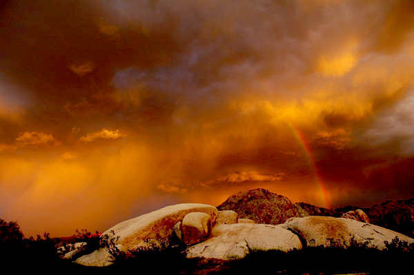 Sunset storm, Colorado Desert, Southern California.<br> Photo by Blitzo.