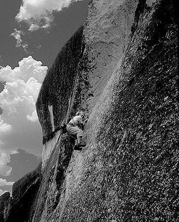 Mark Hudon climbing at Donner, 1979.<br> Photo by Blitzo.