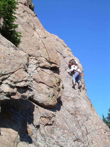 Erin, 4, on one of the multiple TRs on the South face.