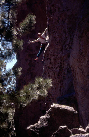 """Errett Allen, clowing around, on the first ascent of """"Welcome to Bohemia"""".<br> Photo by Blitzo."""