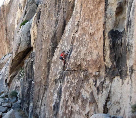 Climbing on Campfire Crag.<br> Photo by Blitzo.