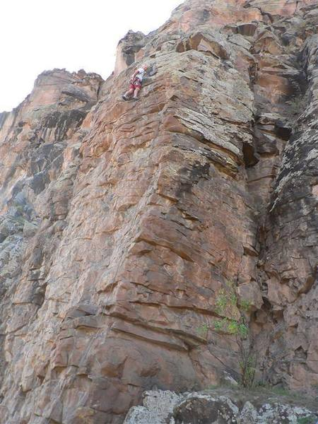 """Roger Rumsey nearing the anchors on """"Dr. Diablo"""" at the Early Wall at Diablo Canyon, NM."""