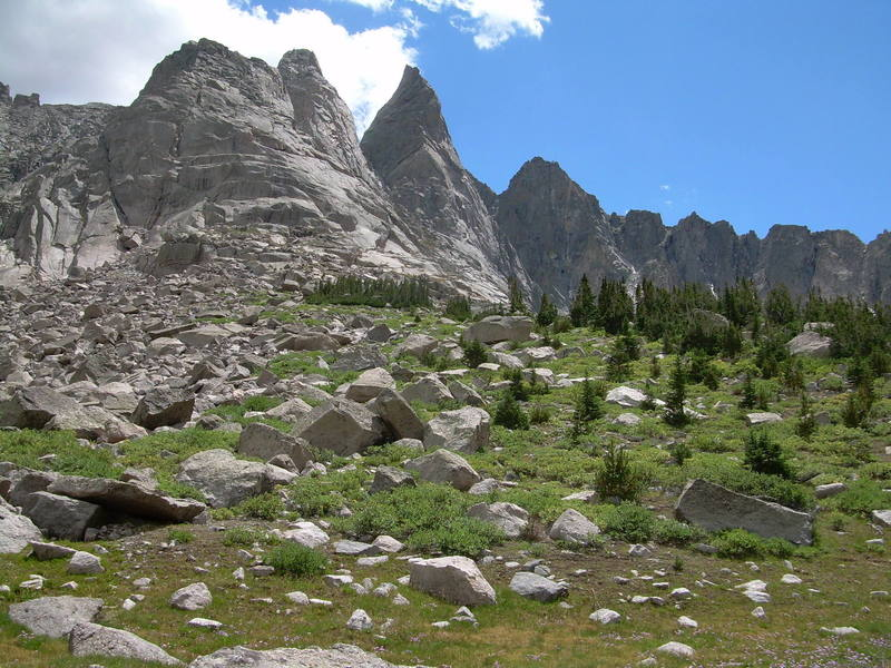 A shot of the back side of the Cirque.  The Sharks Nose is the prominent center peak.