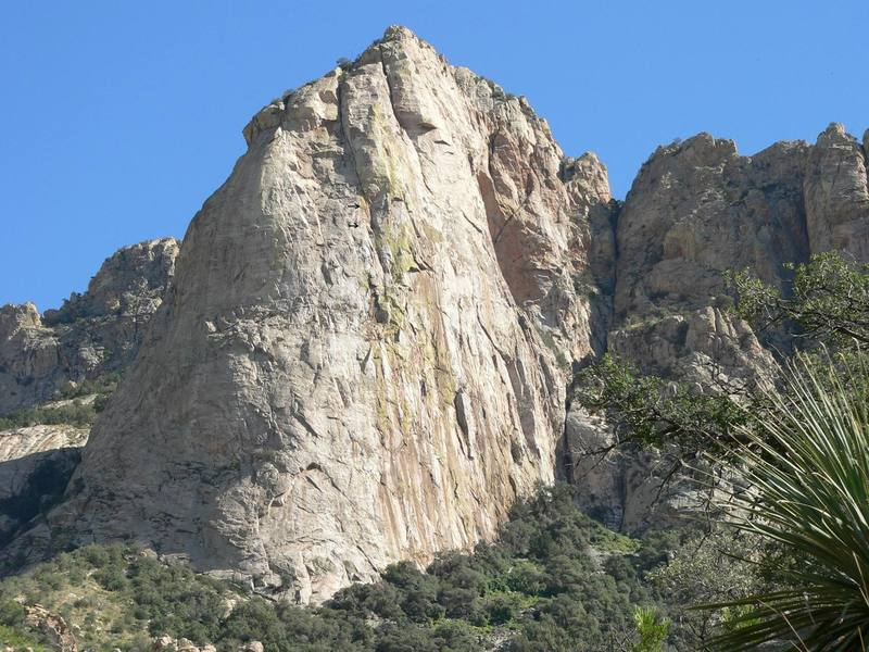 Climbers on pitch 8 of North Face on Leviathan Dome. West side, Catalina Mts.
