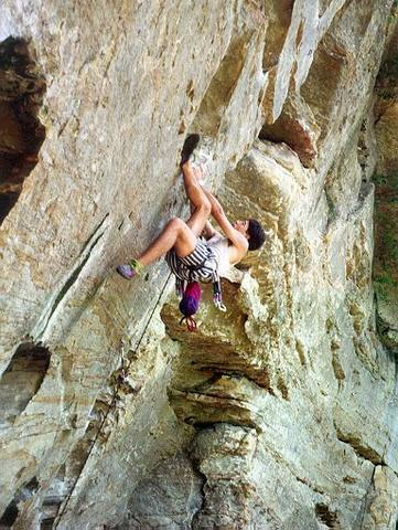 Tony Bubb on Ro Shambo, (11c) at Roadside Crag in Red River Gorge, KY. Picture by Sonia Salgado, Circa 1992.