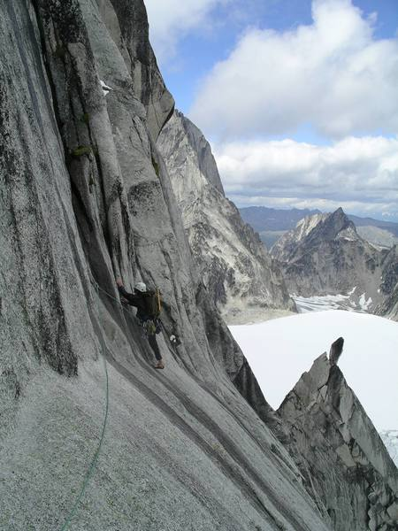 Start of slab traverse and first piece of pro.