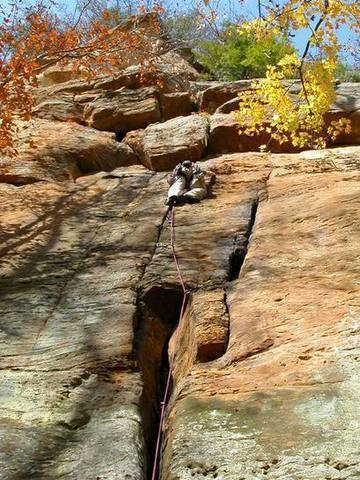 This is me leading the first pitch of a great route called Blue Biner at Lower Small Wall, RRG, KY<br> photo (and belay) by Jeff Neal