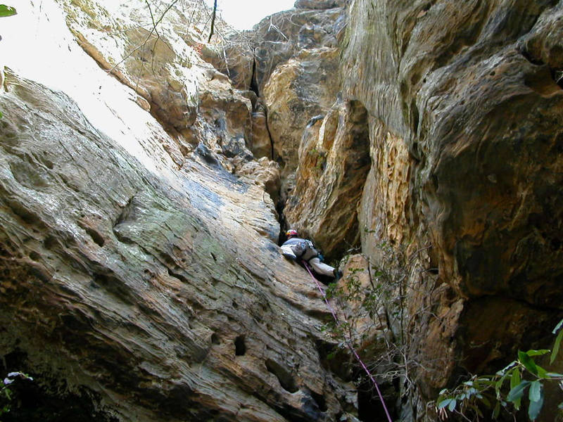 This is me getting near the crux roof of Good Tang. Even though it's only 5.7 it intimidated the heck out of me and I bailed and let my belayer/photographer lead it. I'm just not into steep rock like I am slabs.<br> <br> photo by Jeff Neal