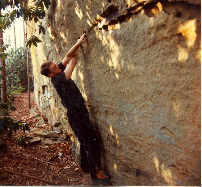 I found this traverse the first year I climbed (1994). Before I knew what bouldering was I worked this thing ruthlessly. It's called Wocket in My Pocket and is V3-ish. The moves are very cool.