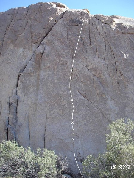 Games Without Frontiers (5.13a) runs up the blank face right of the Continuum crack