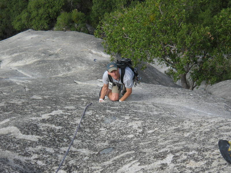 Kirk Hansen about to start into the fingery crux.