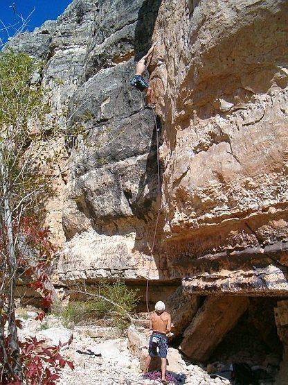 Bryan enjoying the balancy crux of Topeka (5.11b), Jacks Canyon