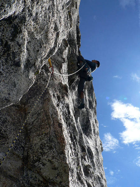 Second pitch, the crux runout section.  With positive pocket holds like that, not too scary.