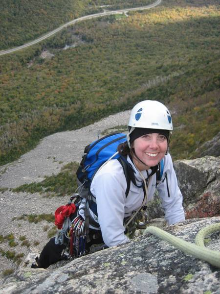 Kayte topping out on Whitney Gilman. Interstate 93 can be seen far below.