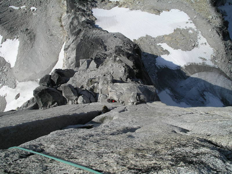 Looking down at the lower part of the Beckey-Chouinard from the top of pitch 11.
