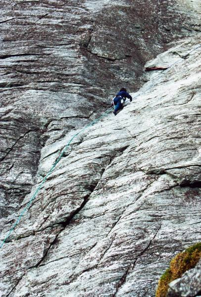 Unknown climber following the first pitch of Peek-a-Boo (trailing a second rope)