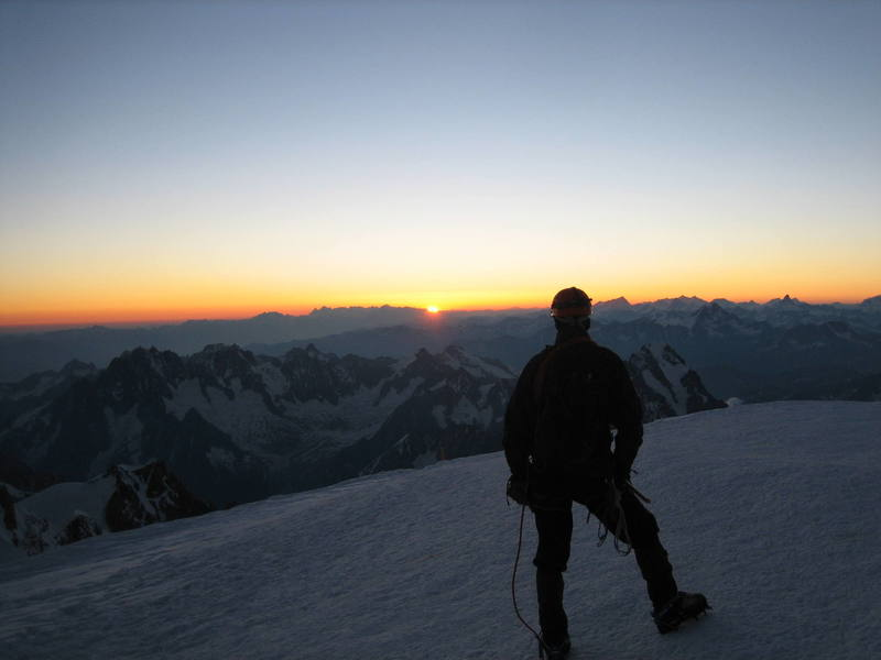 Sunrise on Le Mont Blanc.  You can see the Matterhorn in the background.