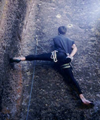Paul Pomeroy making the second ascent. 1988.