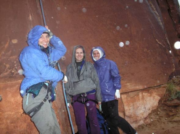 At the base of Incredible Handcrack (Kestrel, Ele, Cathy)