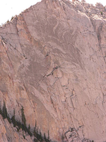 Another day in paradise. About to begin the fantastic final pitch of the lowe route, lone peak cirque.
