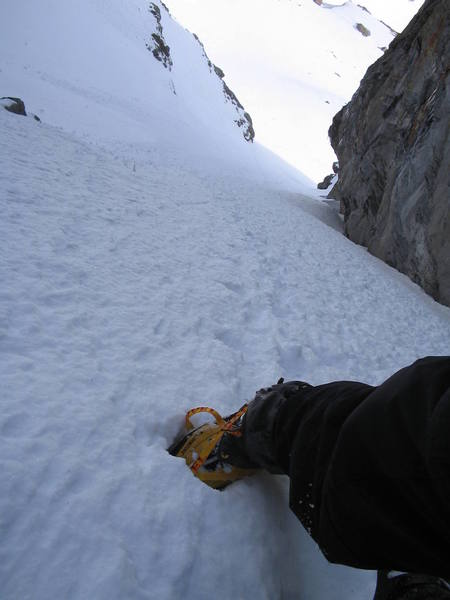 Self portrait in the couloir on the west side of Sharkstooth as seen from The Gash.