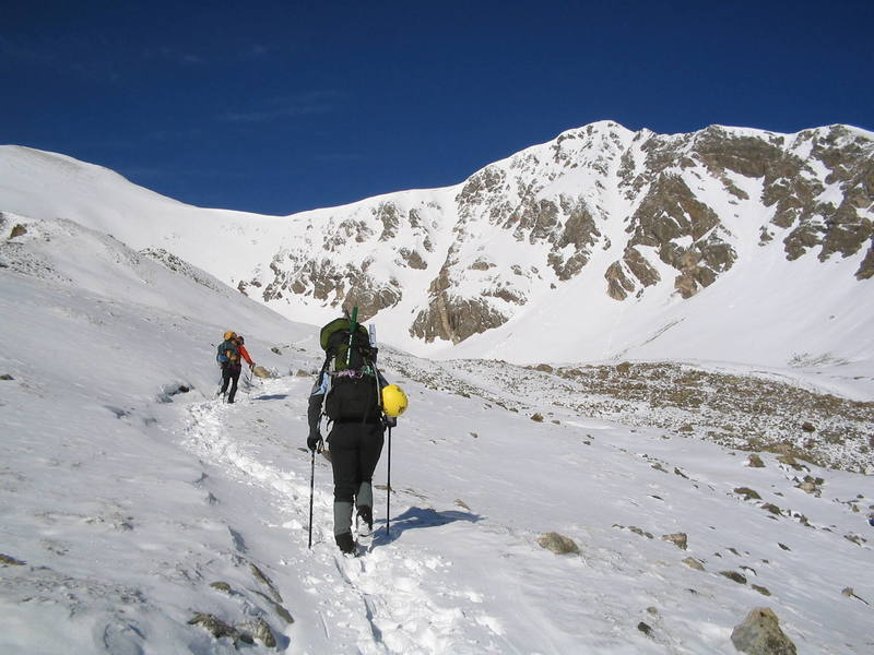 Ben Williams and Anne Cassady on their way to the Dead Dog Couloir.