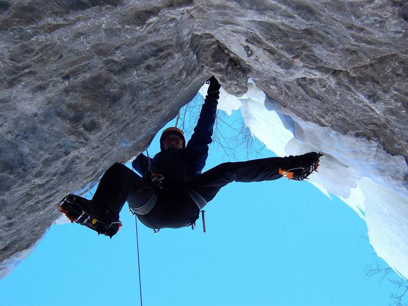 Jasun climbing Secret Probation, Vail Colo.