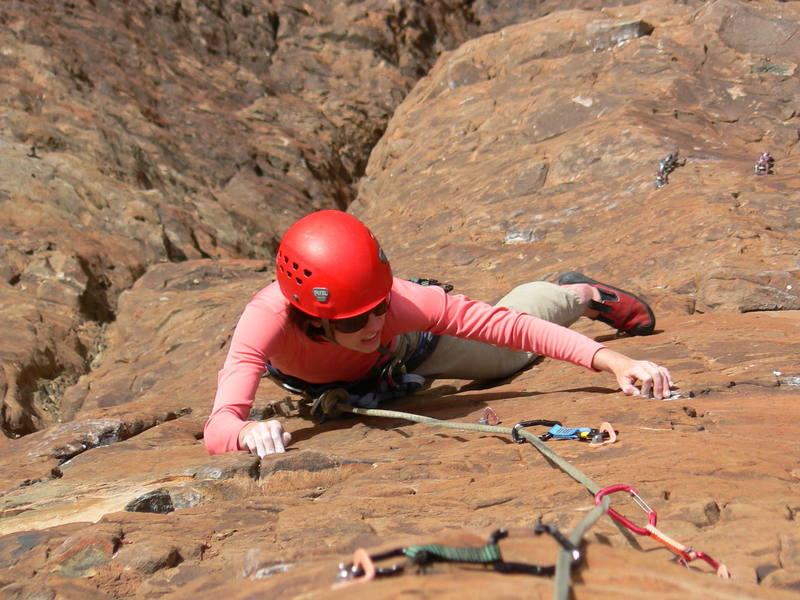 """Fritzy seconding the third pitch of """"Sun Toucher"""".  A beautiful pitch with great position on quality rock."""