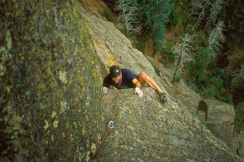 Peter Spindloe, a friend and frequent former partner- (now living back in Canada) follows the crux of the Northwest Passage on the 3rd Flatiron, (sandbag 5.10a) Photo by T. Bubb, Circa 2002.